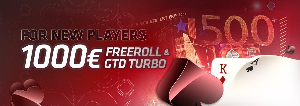 Naujų žaidėjų 1000€ Freeroll'as ir 500€ GTD turnyras