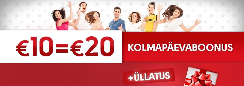 Kolmapäevaboonus 10€=20€!